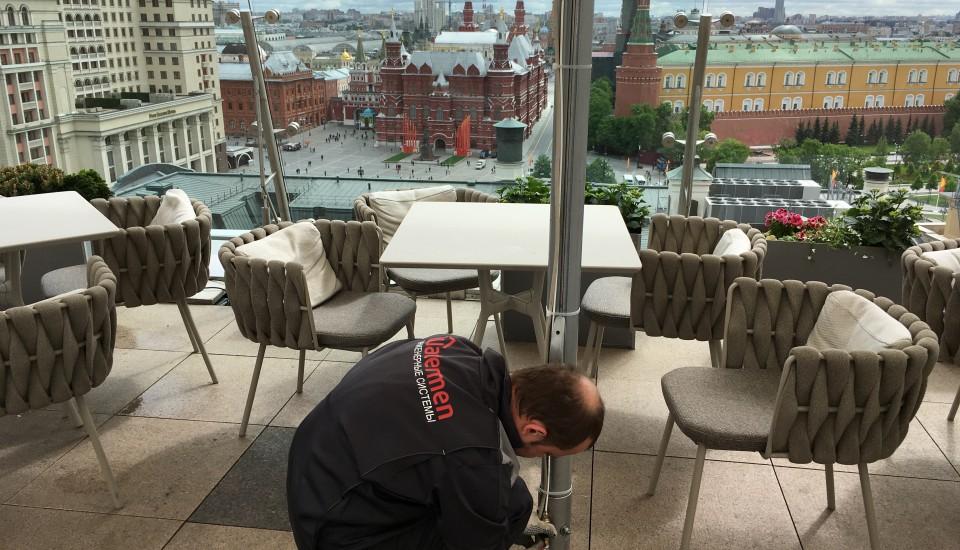 Настройка системы адиабатики на веранде ресторана O2 lounge